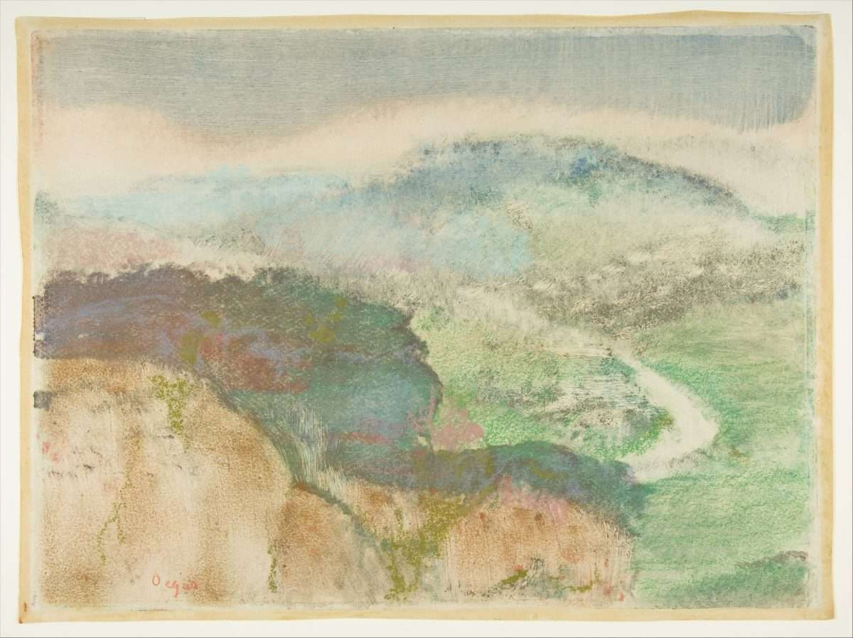 Edgar Degas, Landscape, 1892. Monotype in oil colors, heightened with pastel.